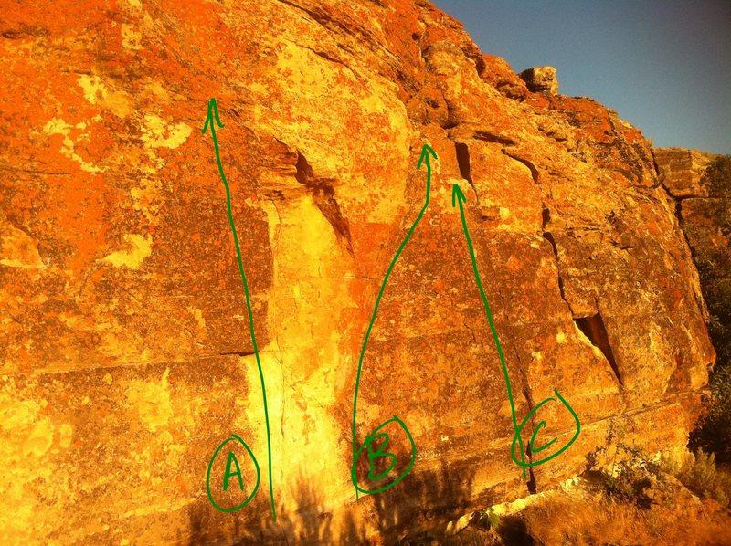 Rock Climbing Photo: A: Pop Tart B:  Zimbo C: Humdrum