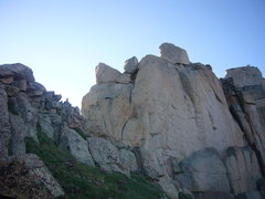 Rock Climbing Photo: Base of Index tower complex.  Notice ledge with #3...