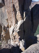 Rock Climbing Photo: Lower bit of summit block.  Setting up a belay of ...