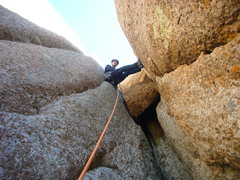 Rock Climbing Photo: Final chimney moves and chockstone just below summ...