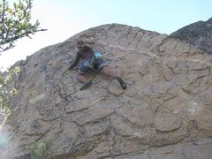 Rock Climbing Photo: Moving gingerly to the 3rd bolt. My first 5.10a sp...