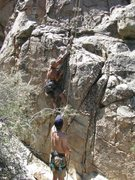 Rock Climbing Photo: Indira following. The first bolt as you can see is...