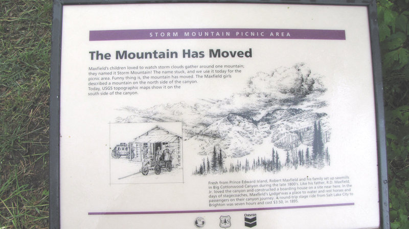 Here is a plaque in the Storm Mountain picnic area. Gosh that mountain looks familiar!