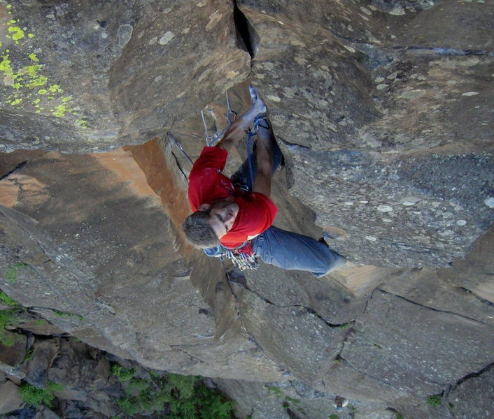 Rock Climbing Photo: In the middle of some wild climbing for the grade,...