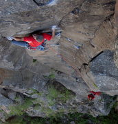 Rock Climbing Photo: Moving into the steep bit on the FA.  James Q Mart...