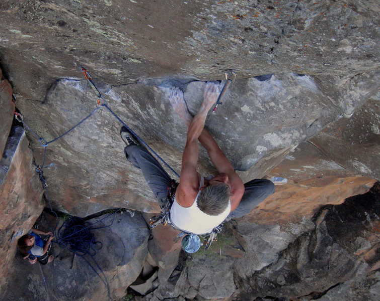 Rock Climbing Photo: Moving through the all too classic rail traverse o...