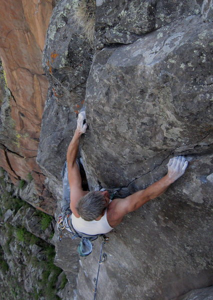 Rock Climbing Photo: The last tricky bit is exiting the stem box to the...