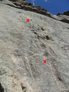 Rock Climbing Photo: The two bolts on Arch Rock Direct -- picture taken...