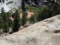 Rock Climbing Photo: Looking down from the top of Arch Rock Direct to B...