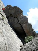 Rock Climbing Photo: The whole route.  The crux is getting past the roo...