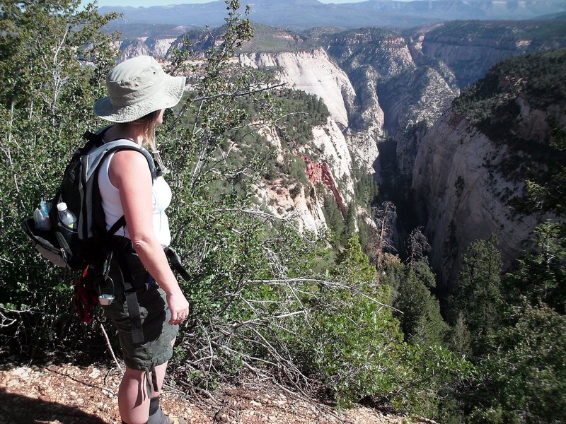 Brenda ready to descend into adventure at Mystery Canyon in Zion National Park.