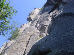 Rock Climbing Photo: Andy on top of the flake
