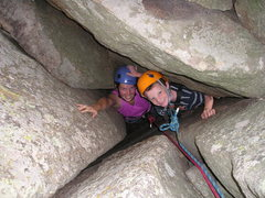 Rock Climbing Photo: Nicky and Dillon climbing the chimney