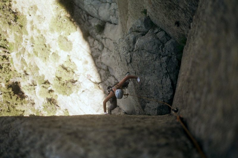 stemming at the crux of pitch one.