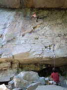 Rock Climbing Photo: This was my first lead at Foster Falls.  Don't fal...