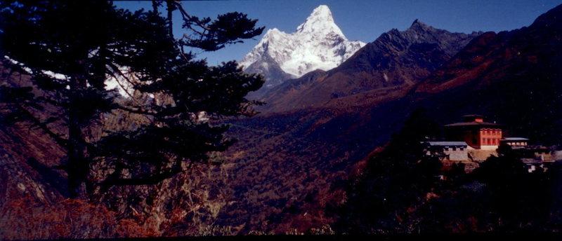 Rock Climbing Photo: Ama Dablang and Tengboche Monastery