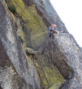 Rock Climbing Photo: Turning the corner at the top of pitch one.  This ...