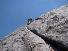 Rock Climbing Photo: Leaving the belay on pitch three.