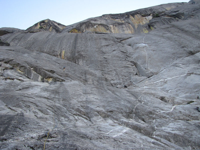 Rock Climbing Photo: The last rap to the base of the west face of Moro ...