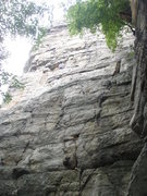 Rock Climbing Photo: Ridiculissima start - the leader is just before th...