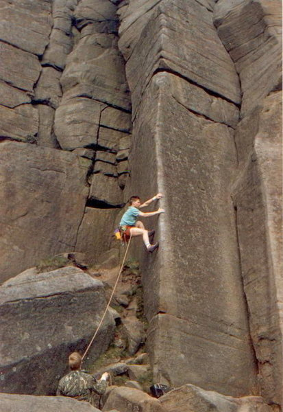 Leading Archangel back in June of 1987, my wrist is taped as I did fluff it and fall of about 15-20 ft up and managed to land OK between the boulders, I made it on this second attempt and a year later for a bet.