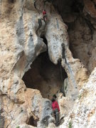 Rock Climbing Photo: Sean on Greek Gift (5.12b) approaching the roof tr...