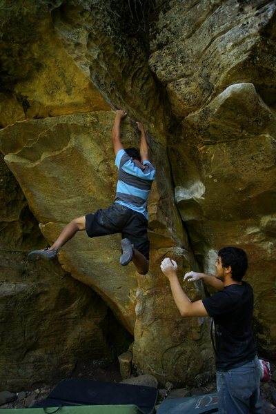 Rock Climbing Photo: Catchin a dyno on a V3