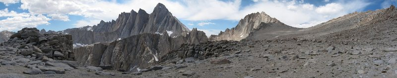 Mt. Whitney and Mt. Russell from the top of the steep talus approaching Russell's East Ridge