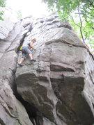 Rock Climbing Photo: Louise starts the traverse.