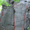 "A nice 5.8 crack on the north side of the ridge (center, route 10 in Sven's book), ""Whitneys Route.""  Unnamed arete on the left (5.8), and ""Mike's Rib"" (5.9) on the right.  Just out of the photo to the right is ""Whitney's Rampage."""
