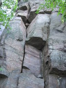 Rock Climbing Photo: Climb the crack system past two overhangs.