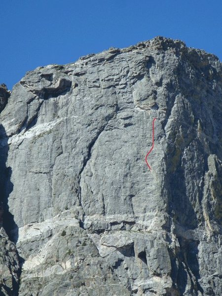 5th pitch of Culp-Bossier.  Seems to be a mystery, everyone we asked couldn't describe it. From the big ledge, we went towards the white and organge roof and belayed in left-facing corner near an orange spot for the top of the 4th.  The 5th pitch ran up and right to another left-facing corner and up groove/crack to right side of the big roof.  Good gear and moderate moves.  Note red line.