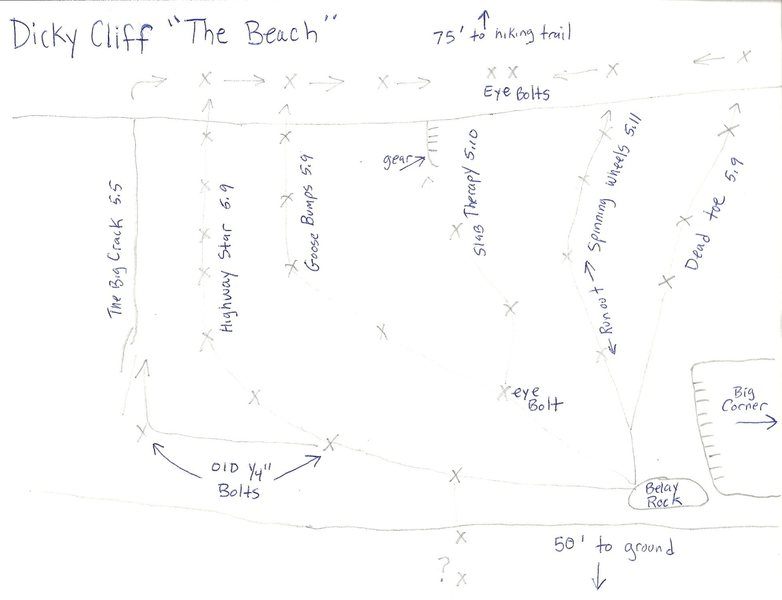 this is a topo of all the routes in The Beach area. Tom and Jay's routes are the three left ones