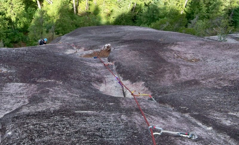 The finish of the EPB Variation (soft 5.10a).