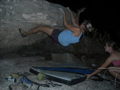 """Rock Climbing Photo: Nikki is """"Getting Out Of Texas""""."""