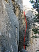 Rock Climbing Photo: The route, with bottom hidden behind foreground bo...
