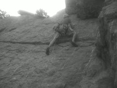 Rock Climbing Photo: Pete getting to the first bolt. Good thing he was ...