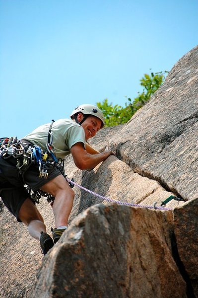 Rock Climbing Photo: On the lead. Never get tired of this route. 3 star...