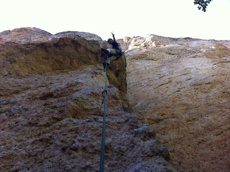 Pulling roofs and bringing peace to the world.  This route has excellent features. Climb it