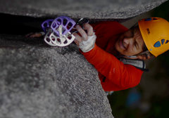 Rock Climbing Photo: Michele from Canmore on Split Beaver near the top.