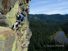 Rock Climbing Photo: Pete Keane entering the crux on P5.