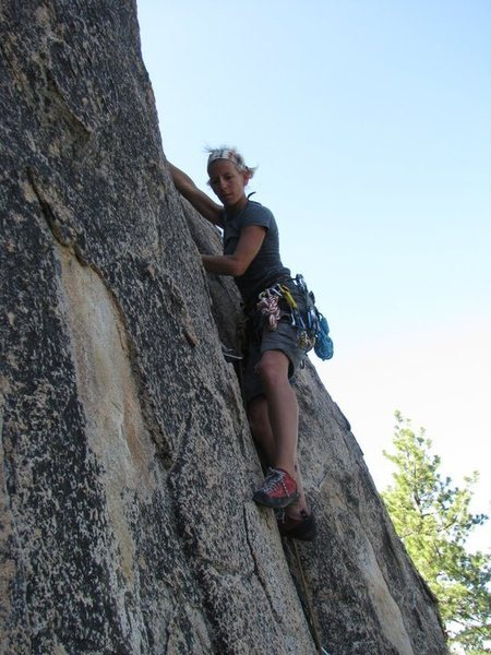 Rock Climbing Photo: Indira looking for the next foothold to move up.