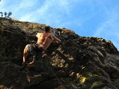 Rock Climbing Photo: Margin of Air, near the chains
