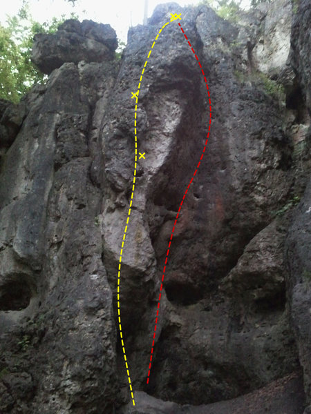 Athos is yellow and follows the arete. Völlig Schwerlos is the red line.