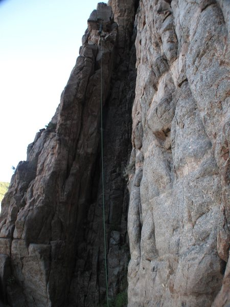 Rock Climbing Photo: The route follows the obvious crack system up the ...