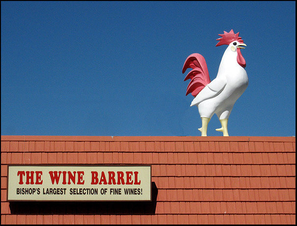Manor Market. Best beer and wine in Bishop. Look for the big chicken.<br> Photo by Blitzo.