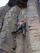 Rock Climbing Photo: Reggie enjoying the twin hand cracks low on Macabr...