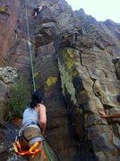 Rock Climbing Photo: Thy belaying Sara on Eyeless in Gaza.