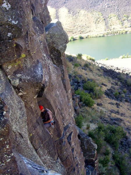 Reggie at the Gargling Vinegar anchors with the Boise River in the background.  Photo taken from Macabre Roof anchors.