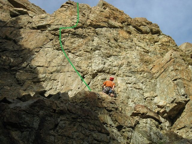 Pins and Knickers (at least how we did it) is marked in green.  The climber is on Better than Bitter.  Photo stolen and modified from Woodon's post on the Better than Bitter page.